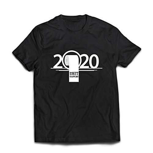 lepni.me Camisetas Hombre La Escasez de Papel Higiénico Apocalipsis Cuarentena 2020 Sucede una Mierda (Large Negro Multicolor)