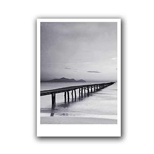 Cuadro en Lienzo para Pared de Playa, póster de fotografía de Playa en Blanco y Negro, Cuadro de Pared nórdico Moderno para habitación de hogar, 19.7x27.6in (50x70cm) x1pcs NoFrame