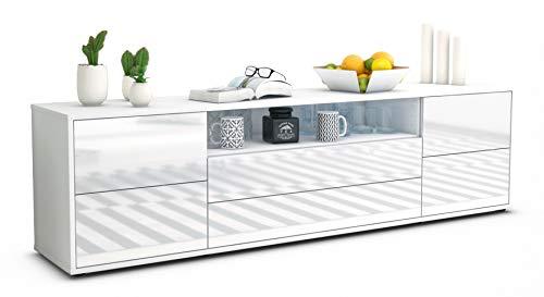 Stil.Zeit TV Schrank Lowboard Aurora, Korpus in Weiss matt/Front im Hochglanz-Design Weiß (180x49x35cm), mit Push-to-Open Technik und hochwertigen Leichtlaufschienen, Made in Germany