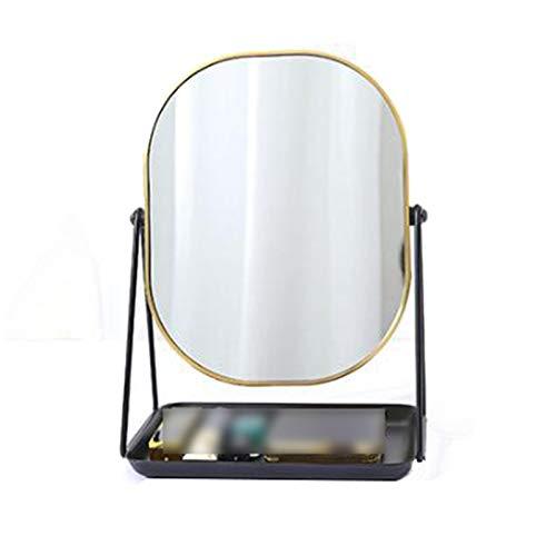 JJZI-L Espejo De Giro De 360 °, Espejo De Belleza De Metal Rectángulo Espejo De Vanidad De Escritorio con Bandeja De Almacenamiento De Joyas 28 * 20,5 Cm