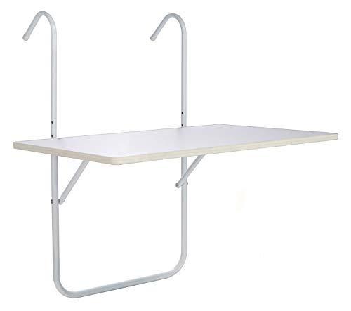 Mesa plegable para balcón 60x 40cm–Mesa colgante para balcón en blanco–inclinable, resistente...
