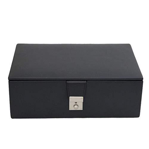 SHBV Caja de Almacenamiento Hecha a Mano de Cuero/Estuche para Piezas de ajedrez Staunton de 4-4.25 Pulgadas - Piezas de ajedrez no Incluidas (Color: Negro)