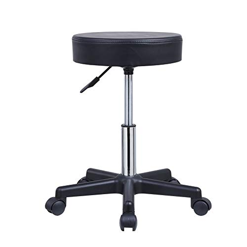 KKTONER Round Rolling Stool PU Leather Height Adjustable Swivel Drafting Work SPA Salon Stools Chair with Wheels Black