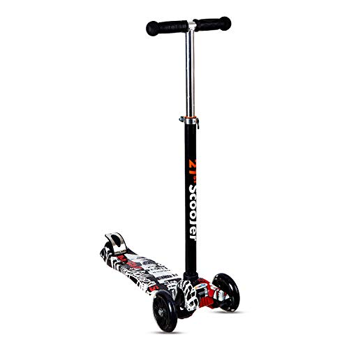 NHR Colorful Graffiti Scooty, 4 Wheel Scooter for Kids, Babies, Toddlers with Adjustable Height, LED Lights n Brake Scooter for Kids 3 to 10 Years (Multicolor)