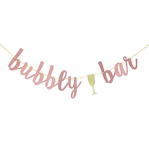 Bubbly Bar Banner -Bridal Shower£¬Engagement£¬Bachelorette£¬Lingerie Party£¬Mimosa Bar Party Decorations (Rose Gold)