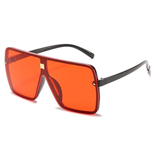 Gafas De Sol Nuevas Gafas De Sol Negras De Gran Tamaño para Mujer, Gafas De Sol Cuadradas A La Moda para Hombres Y Mujeres, Gafas Graduadas con Lentes Planas De Moda C3Black-Red