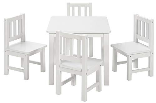 BOMI Spielsitzgruppe 4 Stühlchen Baby mit Tisch | Amy aus Kiefer Massiv Holz | Kinder Möbel Mädchen und Jungen | Sitzgruppe in Weiss