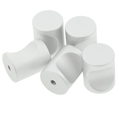 F Fityle 5pcs Zylinder Möbelknopf Möbelknöpfe Möbelknäufe Knauf für Schubladen - Weiß 23 x 18 mm