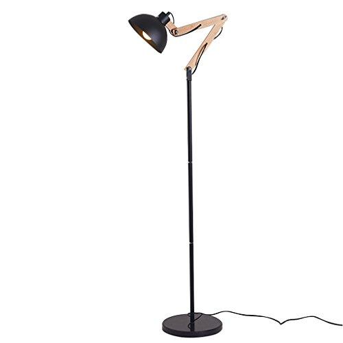 LXJYMX Standard Stehleuchte Hölzernes mehrarmiges Stehlampenwohnzimmer des europäischen Dachbodens industrieller Art hölzernes mit hölzerner mehrarmiger vertikaler Lampe (Farbe : SCHWARZ)