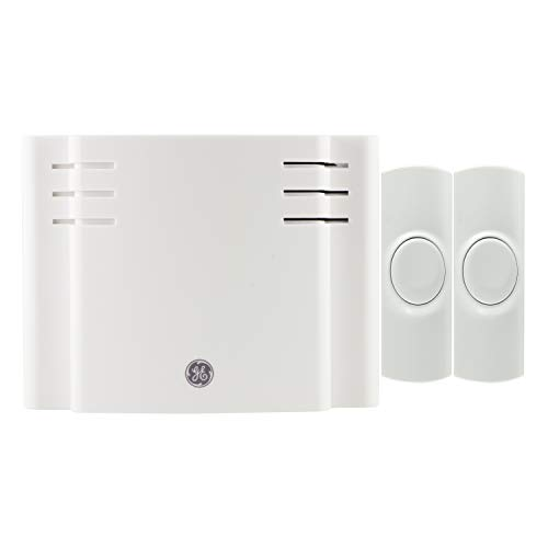 GE Wireless Doorbell Kit, 8 Melodies, 2 Push Buttons, 4 Volume Levels, 150 Ft. Range, Mountable, White, 19297, Battery-Operated Receiver
