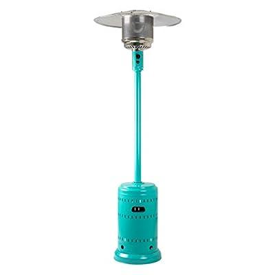 AmazonBasics Commercial, Propane 46,000 BTU, Outdoor Patio Heater with Wheels, Bahama Blue