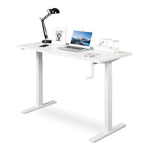 DEVAISE Adjustable Height Standing Desk, 47 inch Sit to Stand Up Desk Workstaion with Crank Handle for Office Home, White