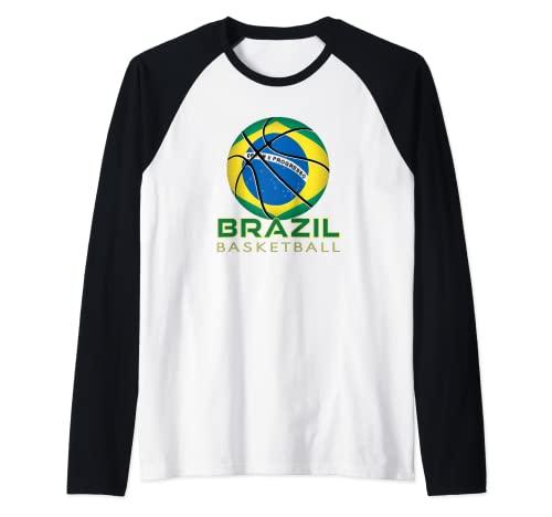 América Brasil Fan Deportes Bandera Nacional Brasil Baloncesto Camiseta Manga Raglan