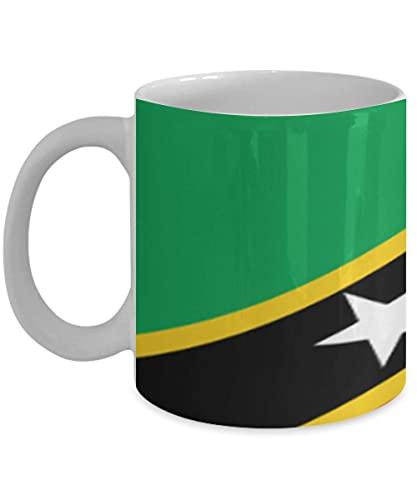 N\A Saint Kitts & Nevis Flagge 11oz weiße Kaffeetasse Teetasse Native Heritage
