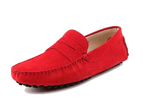 MINITOO Uomo con Fibbia Rosso Camoscio Estivi Mocassini Loafers Scarpe YY2088 EU 41