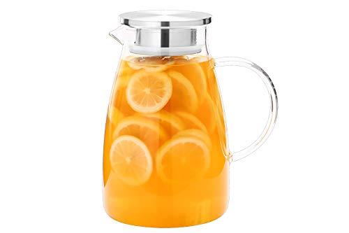 Jarra de agua de 68 onzas, jarra de vidrio con tapa, jarra de agua de vidrio con tapa y asa, jarra de zumo de vidrio con tapa y mango, jarra de vidrio de 68 onzas