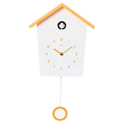 Cuco Clock Orologio a cucù Country House con Orologio a Pendolo Lento a Parete Design Orologio a Pendolo Moderno Orologio a Pendolo in Legno a cucù cronometro a Tempo di Tempo Bianco/Arancione STK