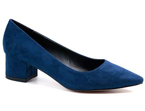 Greatonu Marineblau Pumps mit mittlere Ferse mit Pointed Toe Formell Party Schuhe Größe 40 EU