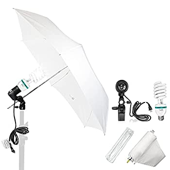 LS LIMO STUDIO LIMOSTUDIO 33  3-Fold Ultra-Compact Professional Photography Studio Lighting Flash Translucent White Soft Umbrella Kit Light Holder 6500K Lighting Bulb Portrait Shooting AGG3107