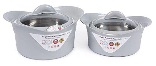 XXL Thermoschüssel Isolierschüssel Kasserolle mit Deckel (Set) (2,2+3,5 Liter Lavendelgrau)