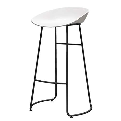 White and Black Barstools Modern Contemporary Armless Bar Stools with Metal Legs Ergonomics Plastic Seat Counter Height Office/Pub/Bistro/Kitchen/Dining Chair (1pcs,Set of 2)