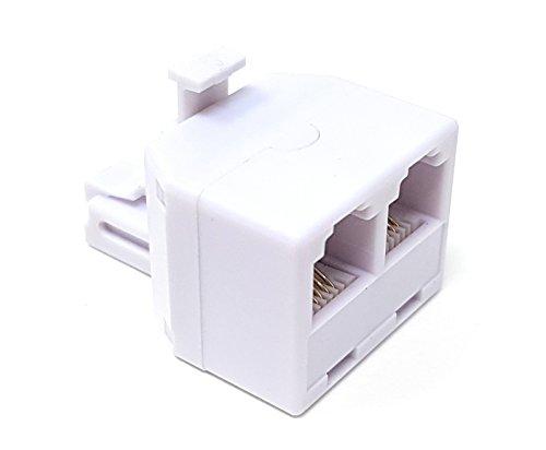 Maincore - Connettore RJ11 a 2 prese RJ11, 4P4C, 4 connettori a 4 fili, accoppiatore telefono ADSL, adattatore, convertitore estensore.