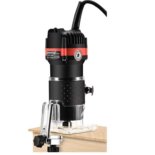 Fresatrice Rifilatore - Bordo Legno Laminato Trimmer manuale elettrico Laminatore Trim Router 30000r/min 800W per Lavorazione del Legno Rifinitura Scanalatura Intaglio (black)