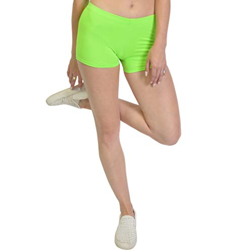 Stretch is Comfort Women's Nylon Spandex Stretch Booty Shorts Neon Lime Small