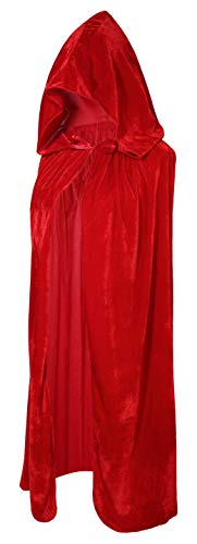 Crizcape Kinder Kostüm-Umhang aus Samt, Cape, Umhang mit Kapuze, ideal für Halloween-Partys, Alter: 2-18 Jahre - rot - L/Alter 8-18