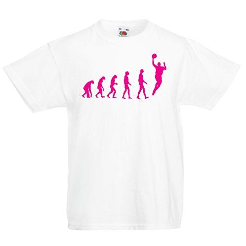 Camisas para niños evolución de Baloncesto - Canasta de la Calle, me Encanta Este Juego, Gran Fan de Regalo (7-8 Years Blanco Magenta)