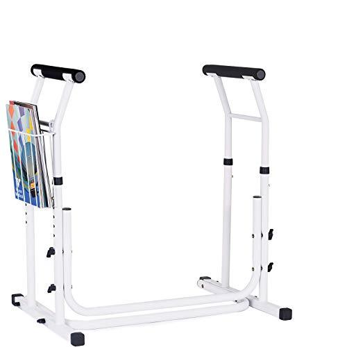 Vaunn Medical Bathroom Adjustable Height Toilet Rail Grab Bar and Commode Safety Frame Handle