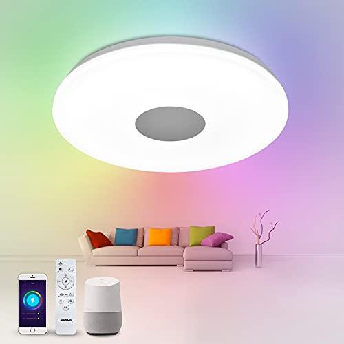Alexa Deckenlampe 30cm JDONG Dimmbar mit Fernbedienung, 18W Alexa Kompatibel Deckenleuchte Farbwechsel, Sternenhimmel, LED Wlan Lampe für Schlafzimmer Kinderzimmer Wohnzimmer X6040-18W