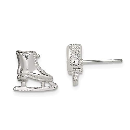 Broche de plata de ley para patines de hielo niños Mini Juego de pendientes de - JewelryWeb