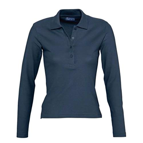 SOLS Podium Damen Pique Polo-Shirt, Langarm (M) (Denim)