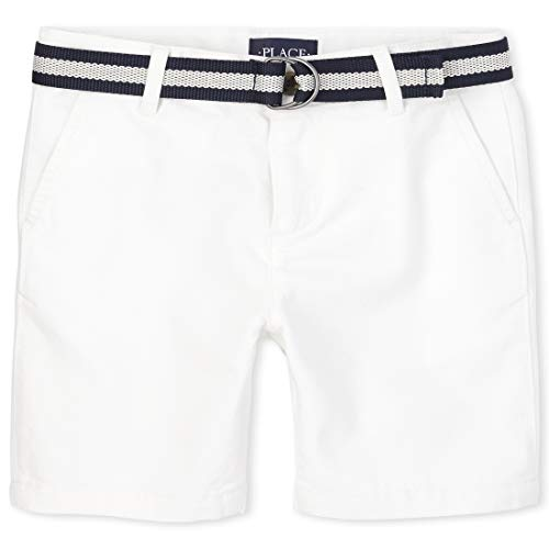 The Children's Place Baby Boys' Belted Chino Shorts, Simplywht, 3T