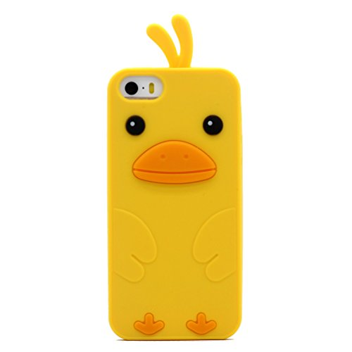Keyihan iPhone 5 / 5S / SE Hülle, Niedlich 3D Küken Ente Weichem Silikon Handy Schutzhülle Hülle für iPhone 5 & iPhone 5S & iPhone SE (Gelb)