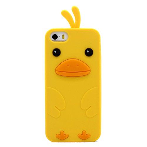 Keyihan iPhone SE Custodia, iPhone 5S Cover Morbida Silicone Motivo Moda 3D Pulcino Anatra Protettiva Case per Apple iPhone 5/5S/SE (Giallo)