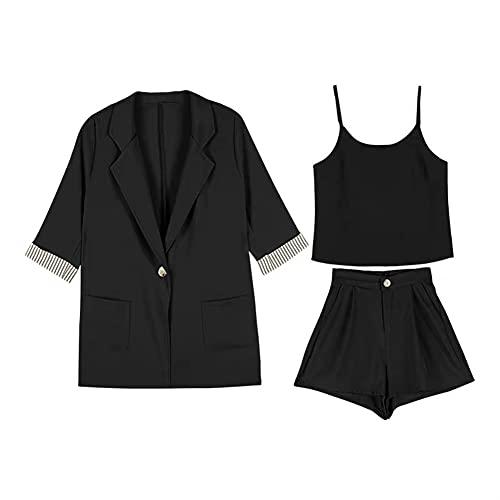 ROTAKUMA Summer Women Blazer Suits Three Pieces Set Short Sleeve Striped Jacket+Camisole+ Wide Leg Shorts (Color : Black, Size : XX-Large)