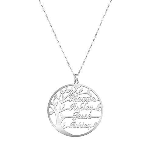 Gaosh Namenskette 925 Sterling Silber - Personalisiert mit Ihrem eigenen 4 Namen mit Baum des Lebens beliebiger Name für Damen Geburtstag Valentines Day Jahrestag Damen Schmuck (Silver)