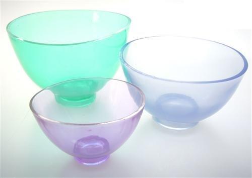 3x Mischbecher (Set), flexible Silikon Becher, in 3 Größen, 0,5 Liter, 0,25 Liter und 0,1 Liter Fassungsvermögen, Anrührbecher Anmischbecher, farbig transparent