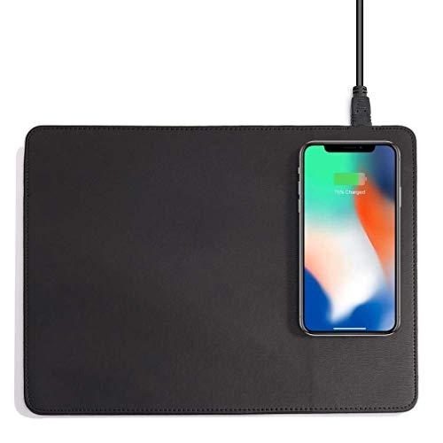 Mouse Pad, Mobiele Telefoon Qi Draadloze Oplader Opladen Muismat Mat - Voor Iphone X / 8 8Plus Voor Samsung S8 Plus / S7 S6 Edge Toelichting 8 Note 5,Black