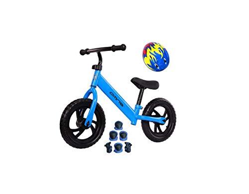 BDW BLAU Laufrad für Kinder 2-6 Jahre, Kinder Laufrad fürs Gleichgewicht, mit höhenverstellbarem Sattel und Lenker max30 kg - Spielzeug für Kinder 2-6 Jahre Helm UND Schutz (1)