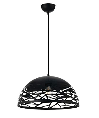lampadario con paralume Vetrineinrete® Lampadario a sospensione da soffitto con paralume in metallo traforato design contemporaneo moderno lampada da soffitto (Nero) Z66