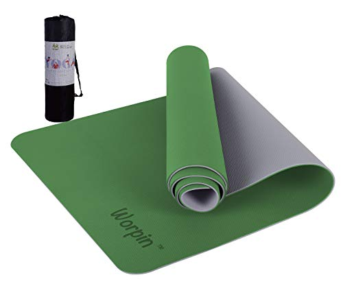 Leadersson Sportmatte, Yogamatte, Gymnastikmatte, rutschfest, Fitness, Yoga-Matte, 183 x 61 cm, mit Tasche und Schultergurt, umweltfreundliches TPE-Material (Grün + Beige)