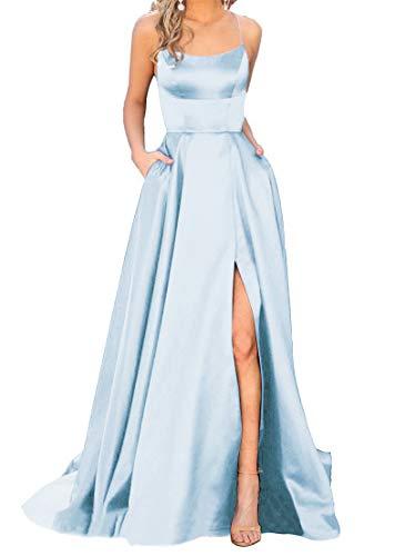 JASY Women's Spaghetti Glitter Long Backless Prom Dresses with Pockets Light Blue