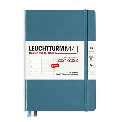 Leuchtturm1917 363888 Wochenkalender und Notizbuch 18 Monate Medium (A5) 2022, Stone Blue, Englisch