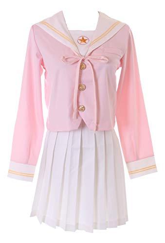Kawaii-Story MN-119 Rosa weiß Japan Schuluniform Bluse Rock Seifuku Sailor Lolita Kostüm Anime Manga Cosplay (L)