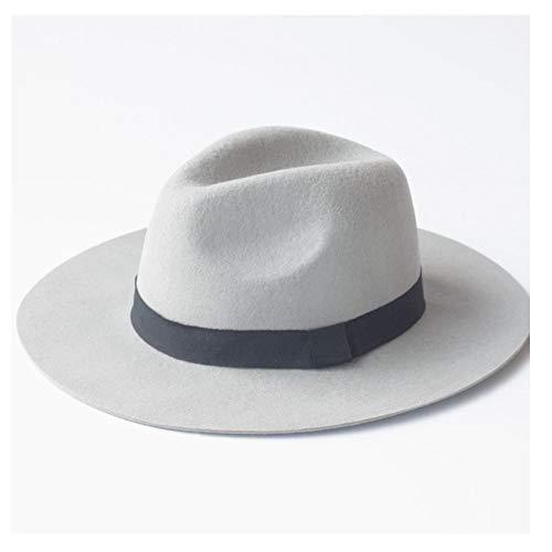 Xuguiping 100% wol Fedora hoed herfst wol mondwater jazz hoed Britse Hepburn vrouwen zonnehoed 56-58cm wit