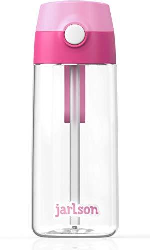 JARLSON® Trinkflasche Kinder - Wasserflasche 500ml - BPA frei - auslaufsicher - Kinderflasche mit Strohhalm - Tritan Flasche für Schule, Kindergarten, Fahrrad… (Pink)