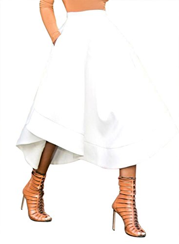 Dokotoo Womens Plus Size Casual High Waist Ruffle Midi Pleated Fit and Flare A Line Skater Full Skirt Dresses White XX-Large
